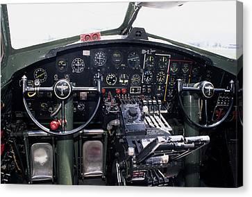 Usa, B-17 Bomber Aircraft, Cockpit Canvas Print by Gerry Reynolds