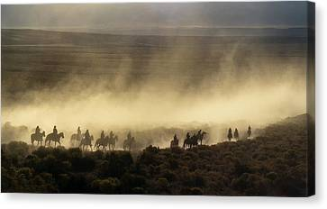 Usa, California, Bishop, Cattle Drive Canvas Print by Ann Collins