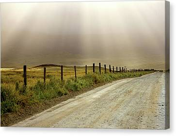 Crepuscular Rays Canvas Print - Usa, California Country Road Lit By Sun by Jaynes Gallery