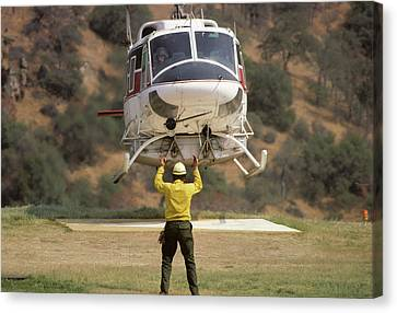 Usa, California, Fire Helicopter Canvas Print by Gerry Reynolds