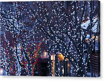 Western Ma Canvas Print - Usa, Colorado, Aspen, Christmas Lights by Walter Bibikow