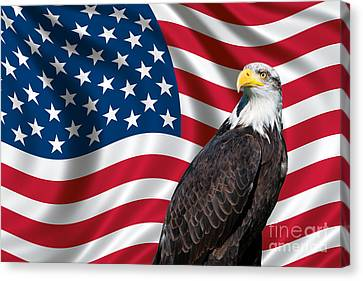 Usa Flag And Bald Eagle Canvas Print by Carsten Reisinger