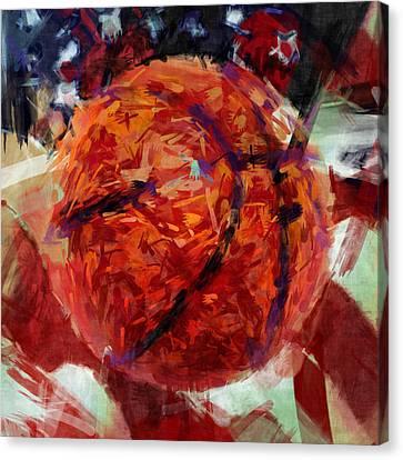 Usa Flag And Basketball Abstract Canvas Print by David G Paul