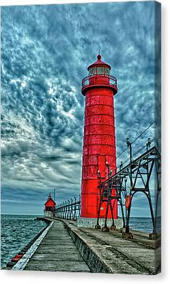 Usa, Grand Haven, Michigan, Lighthouse Canvas Print by Rona Schwarz