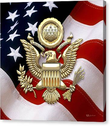 Canvas Print featuring the digital art U. S. A. Great Seal In Gold Over American Flag  by Serge Averbukh