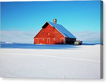 Usa, Idaho, Old Red Barn And Truck Canvas Print by Terry Eggers