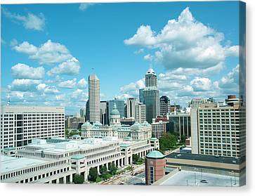 Usa, Indiana, Indianapolis Skyline Canvas Print by Lee Foster
