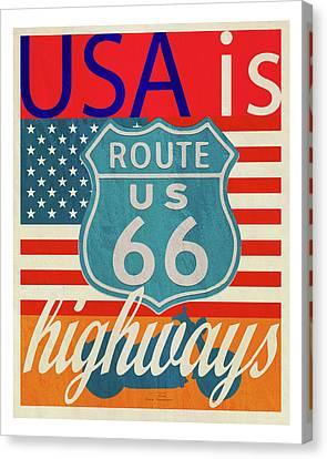 Usa Is Highways Canvas Print