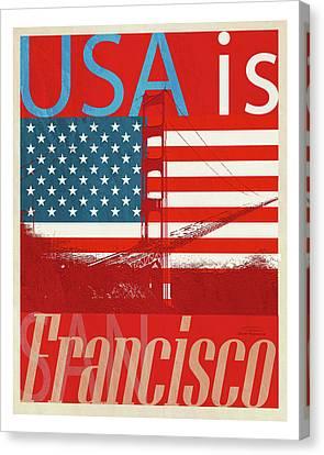 Usa Is San Francisco Red Canvas Print by Joost Hogervorst