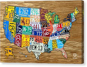 Usa License Plate Map Car Number Tag Art On Light Brown Stained Board Canvas Print by Design Turnpike