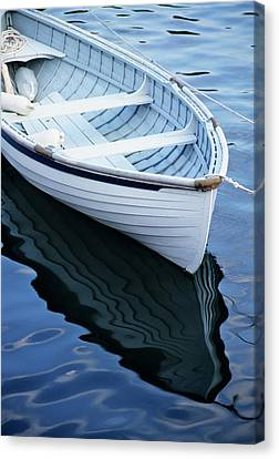 Usa, Maine, Rockport, Dinghy Moored Canvas Print by Ann Collins
