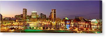 Usa, Maryland, Baltimore, City At Night Canvas Print by Panoramic Images
