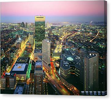 Usa, Massachusetts, Boston, Night View Canvas Print by Tips Images