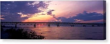 Landscape Of Bridges Canvas Print - Usa, Michigan, Macinaw City, Mackinac by Panoramic Images