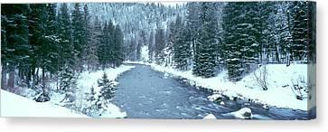 Usa, Montana, Gallatin River, Winter Canvas Print