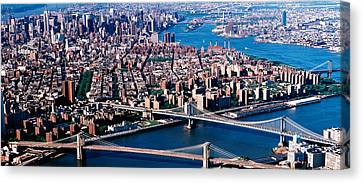 Usa, New York, Brooklyn Bridge, Aerial Canvas Print by Panoramic Images