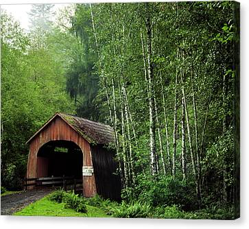 Usa, Oregon Covered Bridge Over North Canvas Print by Jaynes Gallery