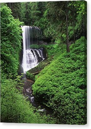 Usa, Oregon, Middle North Falls, Silver Canvas Print by Adam Jones