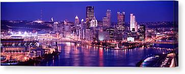 Usa, Pennsylvania, Pittsburgh At Dusk Canvas Print by Panoramic Images