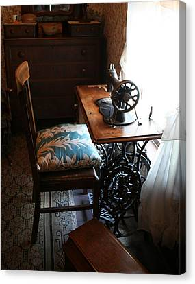 Usa Remembered  Preserving The Past Series Photography By Michele Bruce - Carter - Sewing Machine Canvas Print by Michele Carter