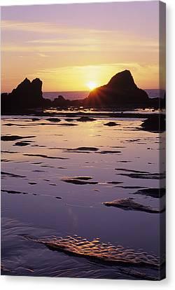 Usa, Sun Setting Over Rocks And Canvas Print