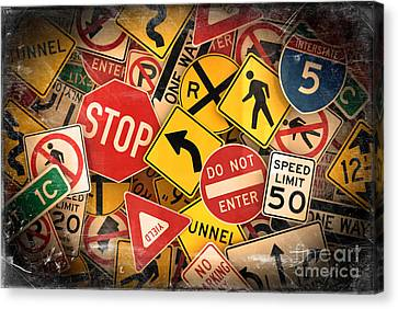 Usa Traffic Signs Canvas Print by Carsten Reisinger