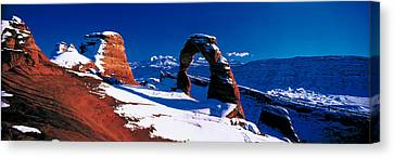 Snow-covered Landscape Canvas Print - Usa, Utah, Delicate Arch, Winter by Panoramic Images