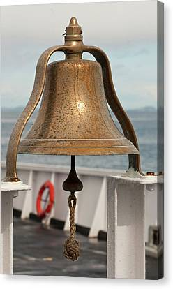 Usa, Wa, Brass Ship Bell On Blackball Canvas Print by Trish Drury