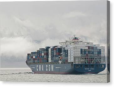Usa, Wa, Laden Container Ship Moves Canvas Print by Trish Drury