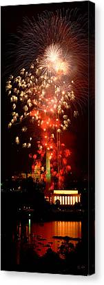 Usa, Washington Dc, Fireworks Canvas Print by Panoramic Images