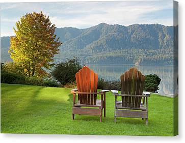 Empty Chairs Canvas Print - Usa, Washington, Quinault by Jaynes Gallery
