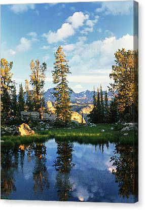 Usa, Wyoming, Landscape With Reflection Canvas Print by Scott T. Smith