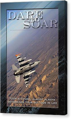 Usaf Dare To Soar Affirmation Poster Canvas Print by Mountain Dreams