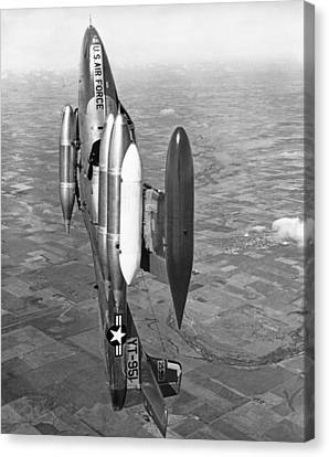 Land Feature Canvas Print - Usaf Jet Going Straight Up by Underwood Archives