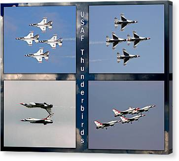Canvas Print featuring the photograph Usaf Thunderbirds by John Freidenberg