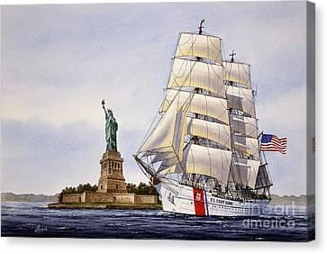 Tall Ship Canvas Print - Uscg Eagle by James Williamson