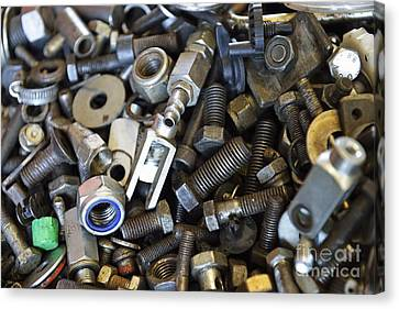 Used Nuts And Bolts Canvas Print by Sami Sarkis