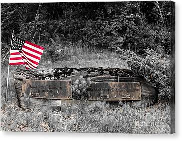 Canvas Print featuring the photograph Usmc Veteran Headstone by Sherman Perry