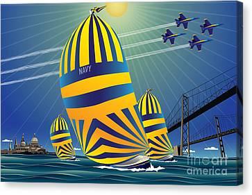 Usna High Noon Sail Canvas Print by Joe Barsin