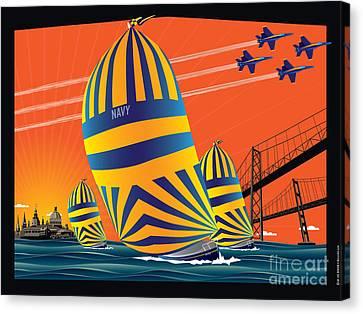 Usna Sunset Sail Canvas Print by Joe Barsin
