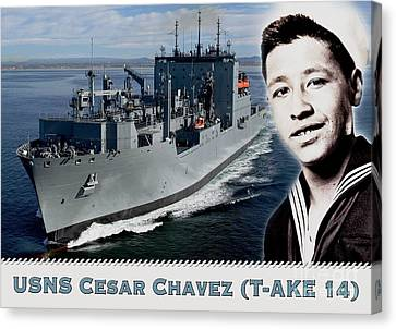 Usns Cesar Chavez - T-ake 14 Canvas Print by Pg Reproductions