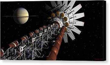 Uss Achilles Passing Saturn Canvas Print by David Robinson