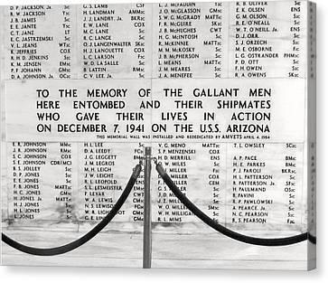 U.s.s. Arizona Pearl Harbor Memorial Canvas Print by Barbara West