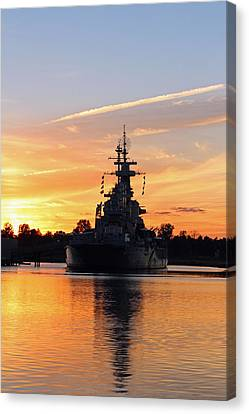 Canvas Print featuring the photograph Uss Battleship by Cynthia Guinn