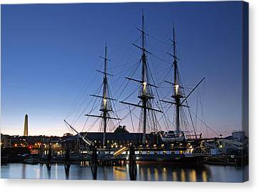 Uss Constitution And Bunker Hill Monument Canvas Print