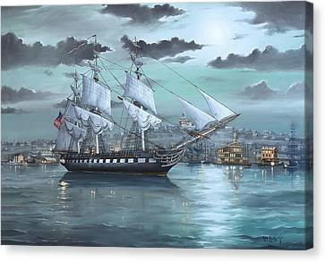 Tall Ship Canvas Print - Uss Constitution In Boston Harbor 1812 by Scott Hoarty