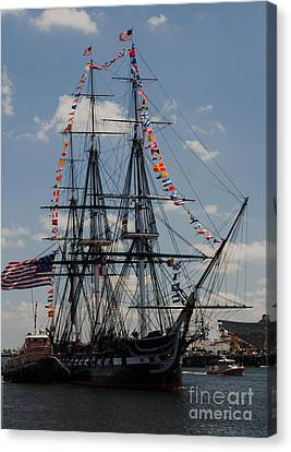 Canvas Print featuring the photograph Uss Constitution by Mike Ste Marie