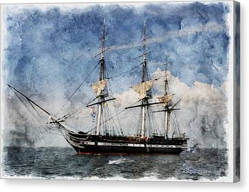 Uss Constitution On Canvas - Featured In 'manufactured Objects' Group Canvas Print by EricaMaxine  Price