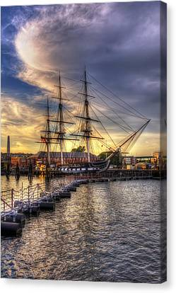 Uss Constitution Sunset - Boston Canvas Print by Joann Vitali