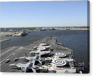 Uss Enterprise Arrives At Naval Station Canvas Print by Stocktrek Images